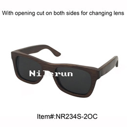 popular black polarized lens dark brown bamboo sunglasses