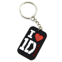 Wholesale drop Shipping 50PCS Lot I Love 1D Fashion Silicone Dog Tag Keychain For Music Fans 4Colours