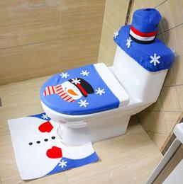 Hand embroidery Christmas snowman toilet set Christmas day home furnishings Christmas decorations