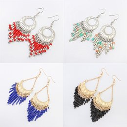 Wholesale earrings for women New Fashion Colorful Resin Beads Gold Silver Plated Tassle Alloy Long Dangle Chandelier Earrings ER734