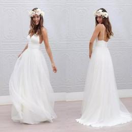 2017 Beach Summer Boho Wedding Dresses Sexy Backless Spaghetti Straps Floor Length Wedding Bridal Gowns Bohemian Formal Dresses For Wedding