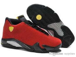Promotion chaussures de sport pas cher Bon marché nouveau air rétro 14 oxydé chaussures de basket-ball vert noir orteil, le tonnerre, rétro gs, suède rouge, Varsity Red Sport chaussures chaussure botte
