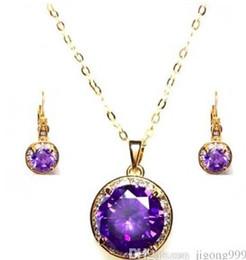 fashion purple diamond stone wedding jewerly necklace earings set free shipping fdsfd