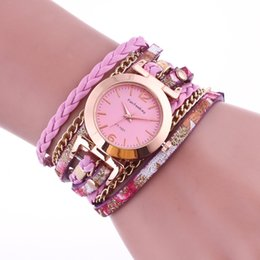 Ladies Quartz Watch Alloy Analog New Women Long Strap style bracelet watches Hand woven metal bracelet chain crystal watches