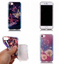 Wholesale Silicone Butterfly Iphone Cases - Bling Blu-ray Flower Soft TPU Case For Iphone 7 I7 Plus Iphone7 Huawei P9 Dreamcatcher Paris Tiger Butterfly Kiss me Dandelion Cover 10pcs