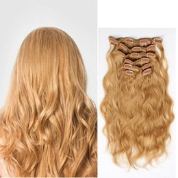 Best Quality Clip In Hair Extensions 7pcs set 16clips 16-26inch #27 Honey Blode Human Hair Extensions Dyeable Hair Pieces Cheap Price