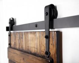 Wholesale Rustic sliding barn door kits Single sliding track hardware BLACK wood door hardware