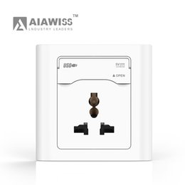 AIAWISS EU UK UN Type 5V 2.4A Dual USB Wall Socket with protect door Universal, White