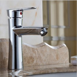 Wholesale Bathroom Sink Faucets Mixer tap Copper counter basin Faucet Deck Mounted Modern Cold hot water Waterfall Spout Homeuse Quality