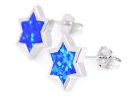 Wholesale & Retail Fashion Fine Blue Fire Opal Earrings 925 Silver Plated Jewelry For Women EAL152501