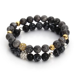 Wholesale New Natural Picasso Alabaster Black Agate Stone Bead Bracelet with Crystal Disco Ball Elastic Rope Chain Mala Bracelets F3247