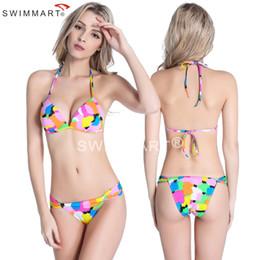 Women Colourful Swimsuit Fresh Style Fashion Printed Beach Wear Small Butt Plus Size Sexy Push Up Bikini