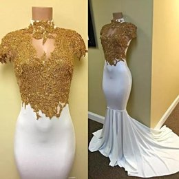 2017 New High Neck Cap Sleeves Gold Lace Appliqued White Prom Dresses Sexy Hollow Out Mermaid Evening Dresses Long Sweep Train Cheap