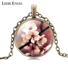Wholesale Fashion Silver Bronze Statement Necklace Vintage Flower Air Picture Collares Summer Glass Cabochon Necklace Jewelry