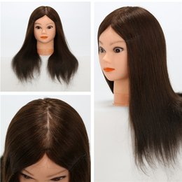 Wholesale 100 Human Hair Mannequin Heads Cosmetology Training Mannequin Head Human Hair and Protein Filament Mixture Hair Training Mannequin Head