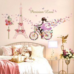 DIY wall stickers for kids rooms PVC home decoration accessories Eiffel tower girl stickers muraux