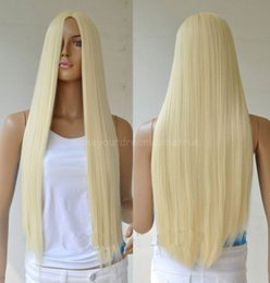 ePacket free shipping Fashion Blonde Heat Resistant Women Lady Long Straight Hair Wig Cosplay Full Wig