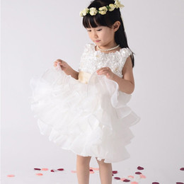 Children Flower Girl Dresses for Weddings High-grade Baby Clothes for Girl White Red Purple Pink color Party Performance Clothing 90 to 140