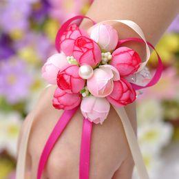 Artificial Silk Hydrangea Flower Girl Hand Wreath For Valentine's Day 2017 Autumn Faux Rose Heads Christmas Party Wreath Bridesmaid Wreath