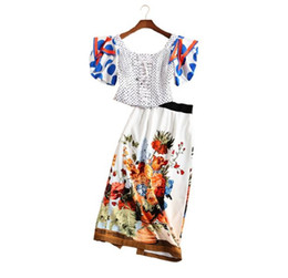 Wholesale The new Europe and the United States women s spring Runway looks wave point package hip lantern sleeve skirt outfit