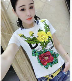 Fashion Summer T-Shirt Plus size Women Shirt Elegant Flower embroidery cotton Casual loose short sleeve Female Tops S-3XL