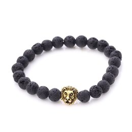 Wholesale Natural Gemstone Lava Tiger Eye Beaded Silver Gold Lion Head Bangles Elastic Streched Men Women Bracelets Large Stock