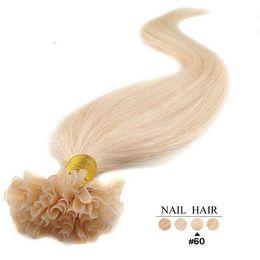 Wholesale Nail Tip Brazilian Virgin Human Hair Extensions g strand s pack Blonde Color Bleach U Shap Stick Tip Hair Extension