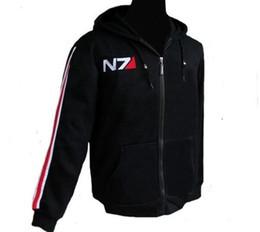 Juego de RPG Mass Effect 3 N7 top Coat mens Ropa traje cosplay negro Chaqueta / Sudadera chándales de algodón unisex desde capas superiores del traje fabricantes