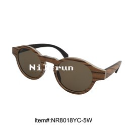 round brown polarized UV400 metal wood sunglasses