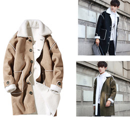 2017 Mens Winter Suede Trench Coat Fall-Shearling Single Breasted Trench Wool Inside Long Men's Winter Clothing