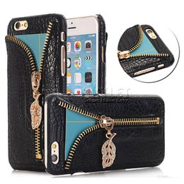 Wholesale For Iphone PU Leather Case Bling Bling Zipper Pendant And Card Slot Back Cover Case For Samsung Note7 S7 S6 With OPP Package
