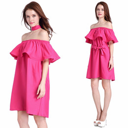 Sexy Woman Skirt European And American Style Summer Ladies Fashion Skirt Solid Slash Neck Ruffles Sleeve Off The Shoulder Ladies Skirt