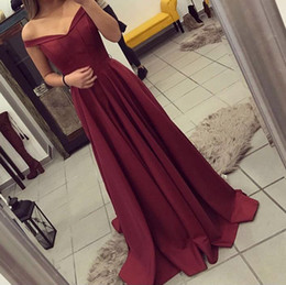 2019 Burgundy Off The Shoulder Prom Dresses Long Sexy Satin A Line Sweep Train Elegant Custom Made Plus Size Formal Evening Party Gowns