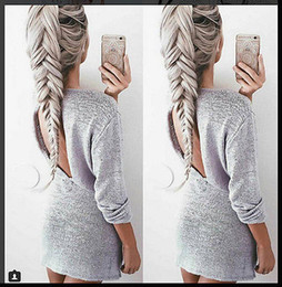 Senhoras jumpers casuais à venda-Atacado-Sexy Mulheres de malha de manga comprida Senhoras de malha camisolas Jumper Winter Tops Open back Gray
