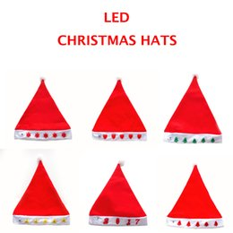 Wholesale 2016 New Christmas Hats With LED Lights Santa s hat Christmas Hat Santa Claus Hats Lovely Christmas Cosplay Hats Product Code