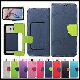 Universal Cartera PU Flip Funda de cuero de la tarjeta de crédito para 3.5 a 5.7inch teléfono celular Teléfono móvil desde teléfonos celulares casos de cuero proveedores