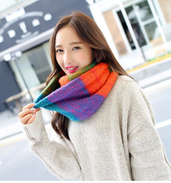 2016 New Fashion Mix colors Ring Women scarves Knitted Wool Neck Cowl Wrap shawl thicken winter warm Ring Loop Scarf
