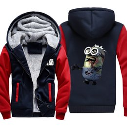 Cool Cartoon Men's Sweater Casual Fashion Sweater Small Yellow People Thick Plus Velvet Hat Sweater Autumn and Winter Warm Jacket