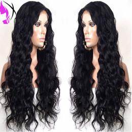 Acheter en ligne Les brunes-Hot Glueless résistant à la chaleur noir / brun foncé vague lisse synthétique dentelle front femmes perruques pour les femmes noires
