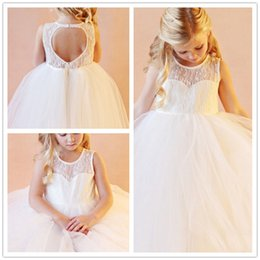 New Flower Girl Dresses for Wedding Lace Tulle Little Girls Kids Child Dress Keyhole Back Party Pageant Communion Dress