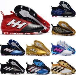 2016 Mens laceless Youth purecontrole FG ace 16 17 soccer cleats Original High Ankle Kids Boy football soccer shoes boots High Quality Gold