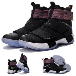 (Avec boîte de chaussures) NEW James LeBron Zoom Soldat 10 X Olympic Rio Noir Multi Coloris 844374-085 Chaussures pour hommes taille 7-12 à partir de soldats lebron noir fournisseurs