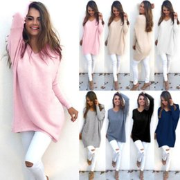 Compra On-line Senhoras jumpers casuais-Atacado-Novo Womens Ladies V-Neck Warm Camisolas Casual Camisola Jumper Tops Outwear
