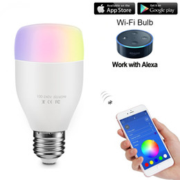 Smart LED Bulb RGBW E27 6W WiFi Remote Controlled Dimmable Music Sync Adjust Light Brightness Color Changing for Android iOS Smartphone