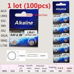 Wholesale 100pcs AG3 LR41 A SR41 L736 V Alkaline Button Cell Battery coin batteries