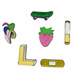 Wholesale X150 Cartoon Cute Smoke Skate Band Aid Banana Strawberry Metal Brooch Pins Jeans Bag Decoration Brooches Gift