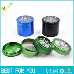 Wholesale Fashion layer metal grinder mm aluminum alloy transparent top window smoke herb tobacco grinder