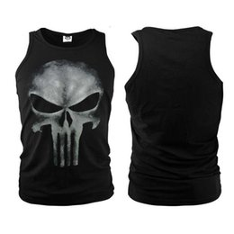 Tops sport homme sans manches à vendre-Marvel Comics Anti-héros The Punisher Skull Men Veste d'été T-shirt sans manches GYM Vests Fitness Sport Bodying Building Tank Tops