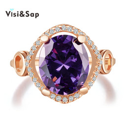 Visisap Purple stone Russian Rings For Women Rose Gold Color luxury cubic zircon vintage Wedding bands fashion Jewelry VSR183