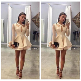 Short Homecoming Dresses O-Neck Illusion Long Sleeves A-Line Chiffon Mini Homecoming Party Gowns 2017 Custom Made Online Prom Party Gowns